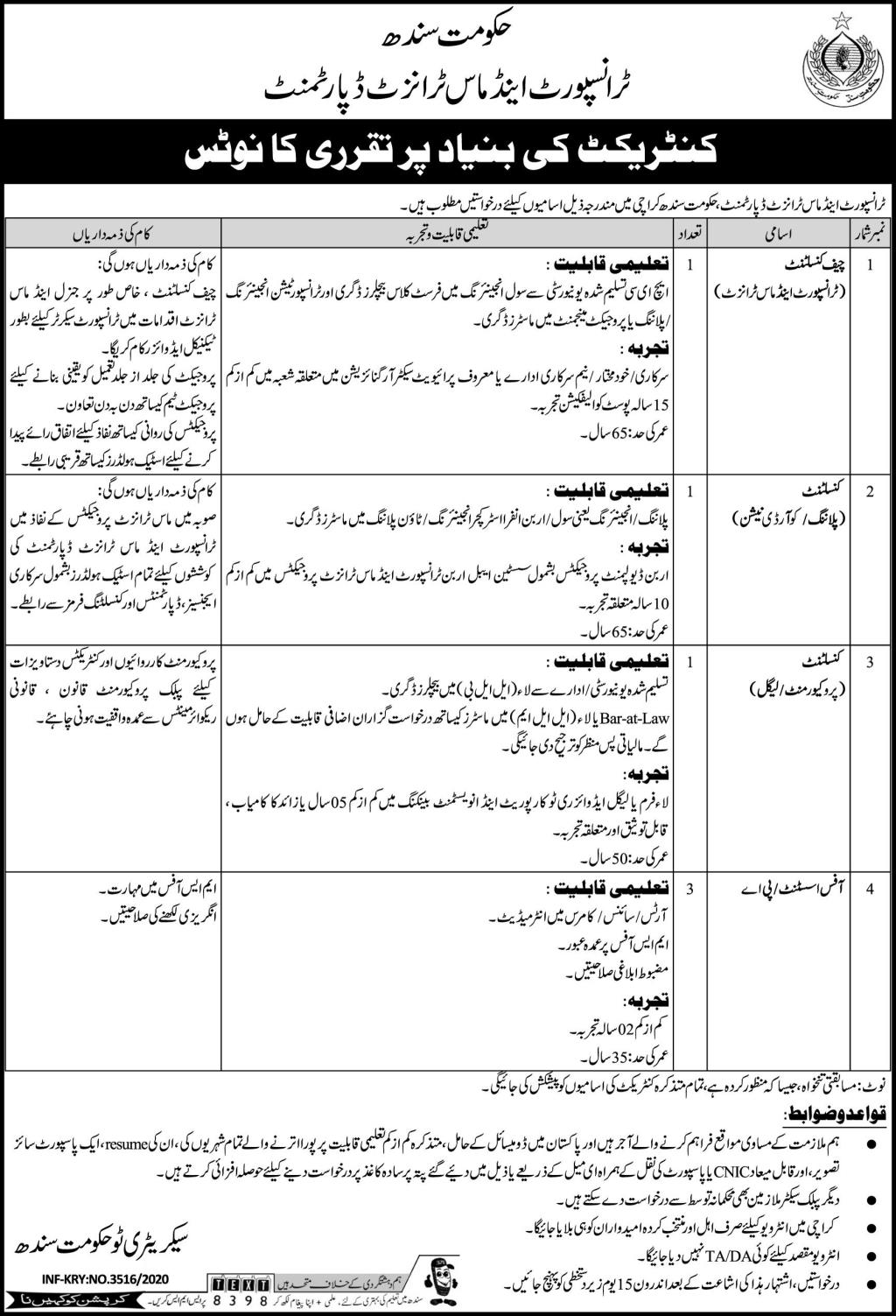 Government of Sindh Transport and Mass Transit Department Jobs December 2020