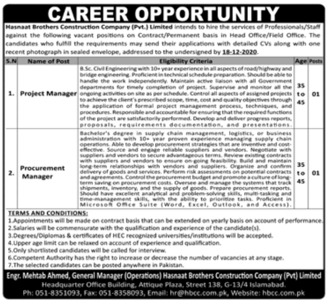 Hasnaat Brothers Construction Company Pvt Limited Jobs December 2020