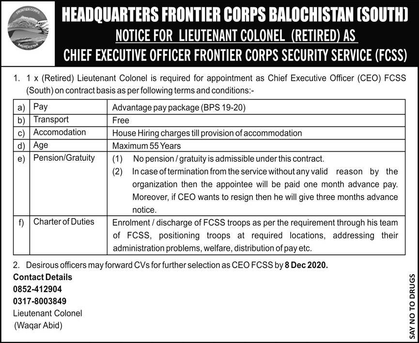 Headquarters Frontier Corps CEO Jobs December 2020