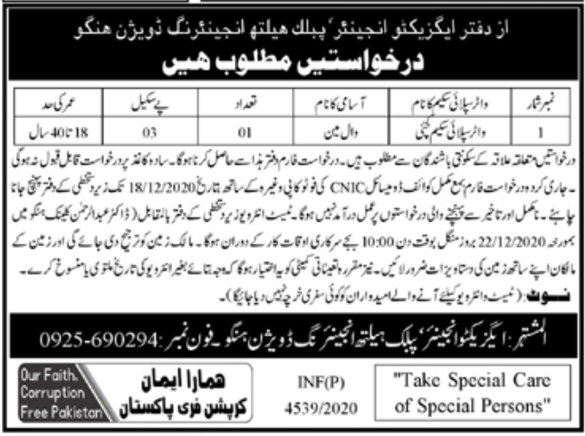 Health Department Hangu Jobs December 2020