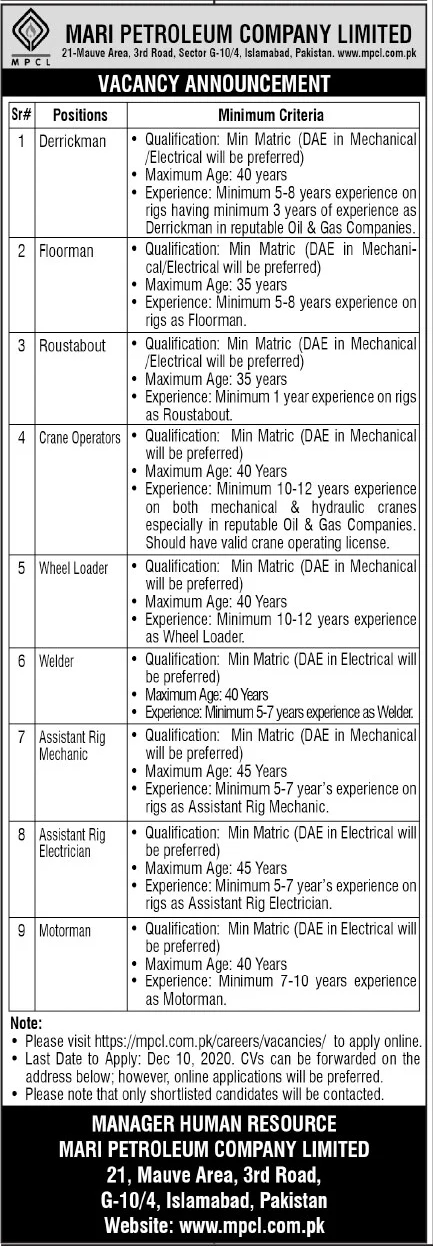 MARI Petroleum Company Limited MPCL Jobs December 2020