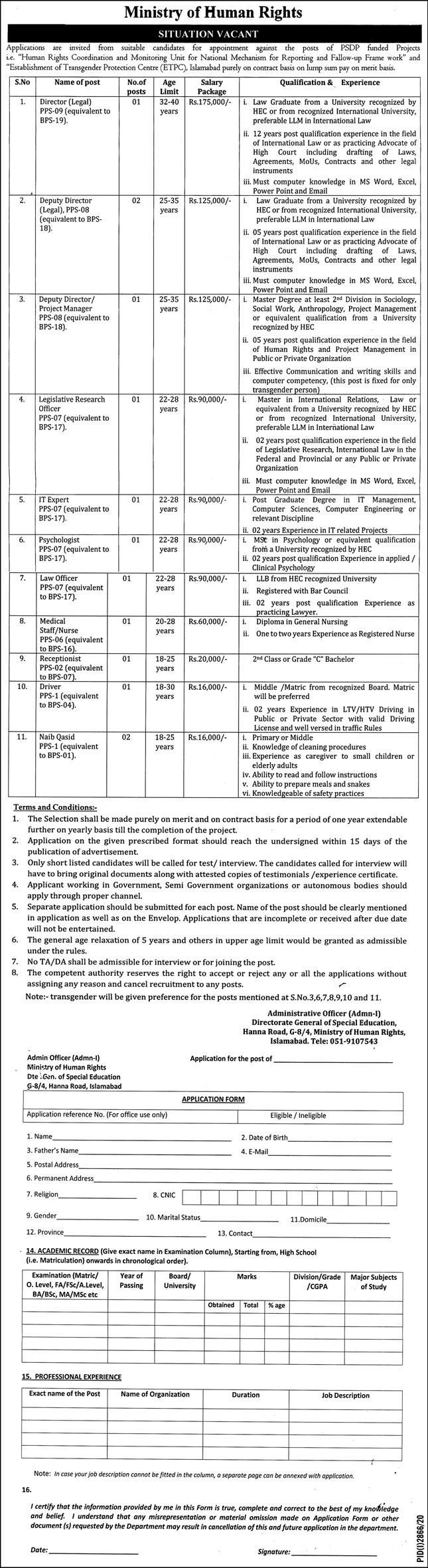 Ministry of Human Rights Govt of Pakistan Jobs December 2020