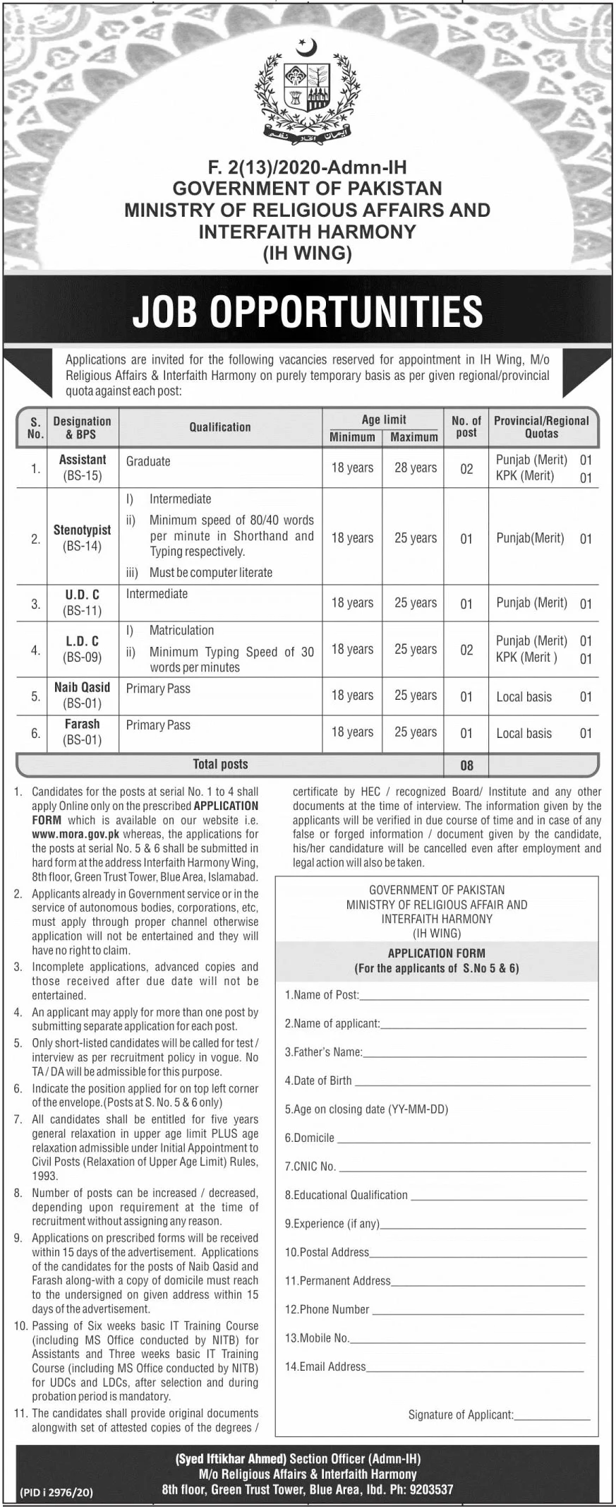 Ministry of Religious Affairs and Interfaith Harmony Jobs December 2020