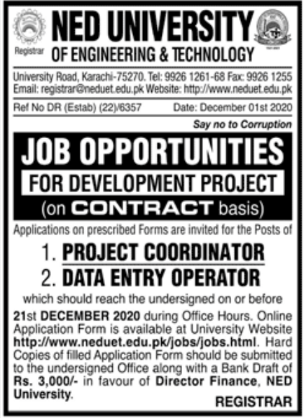 NED University of Engineering & Technology Jobs December 2020