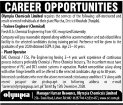 Olympia Chemicals Limited Jobs December 2020