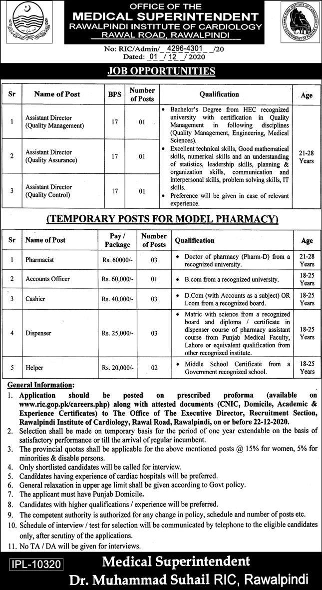 Rawalpindi Institute of Cardiology Jobs December 2020