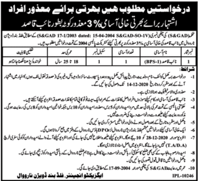 S & GAD Department Jobs December 2020