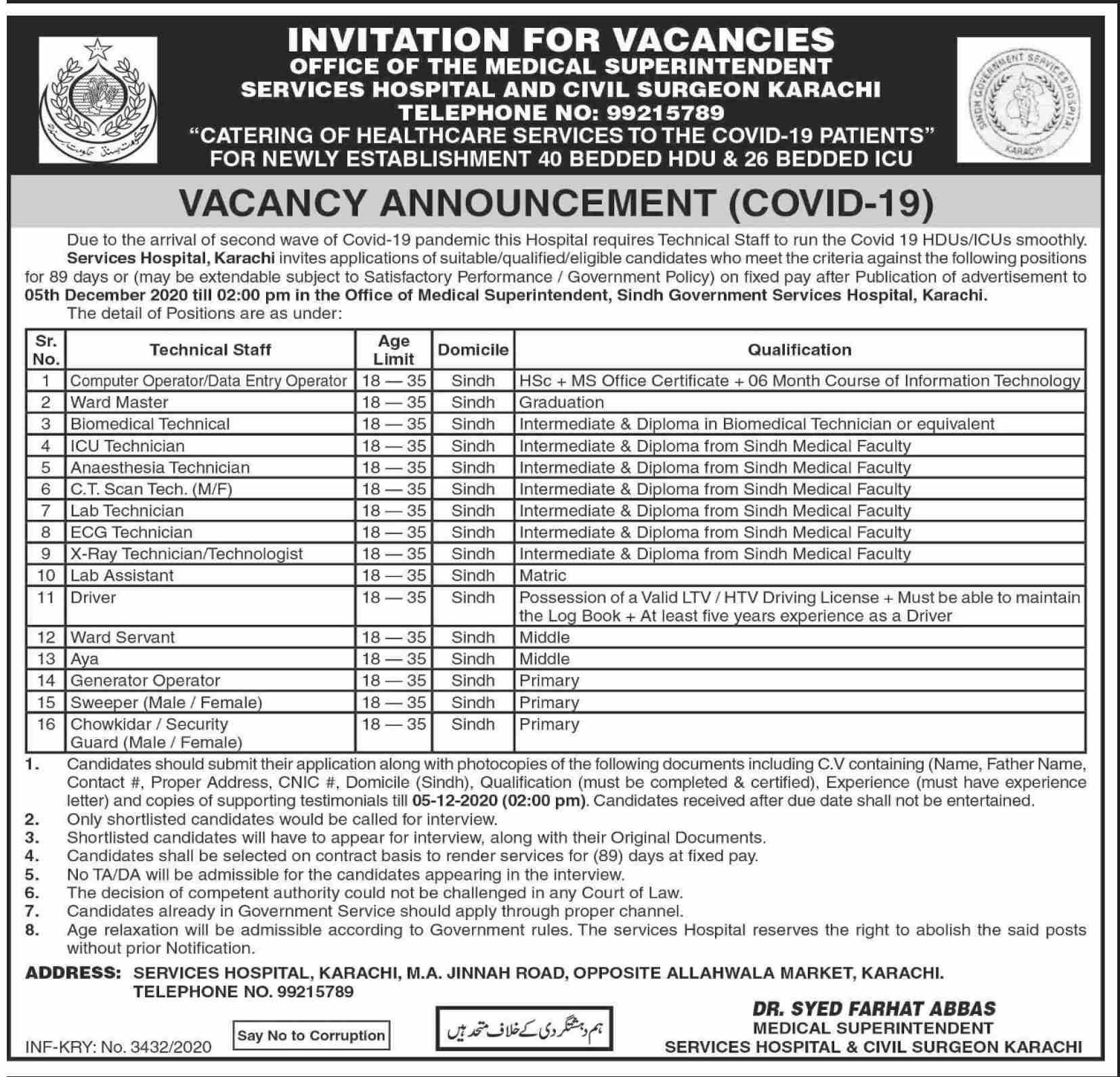 Services Hospital Karachi Jobs September 2020