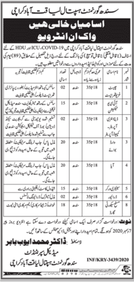 Sindh Government Hospital Karachi Jobs December 2020