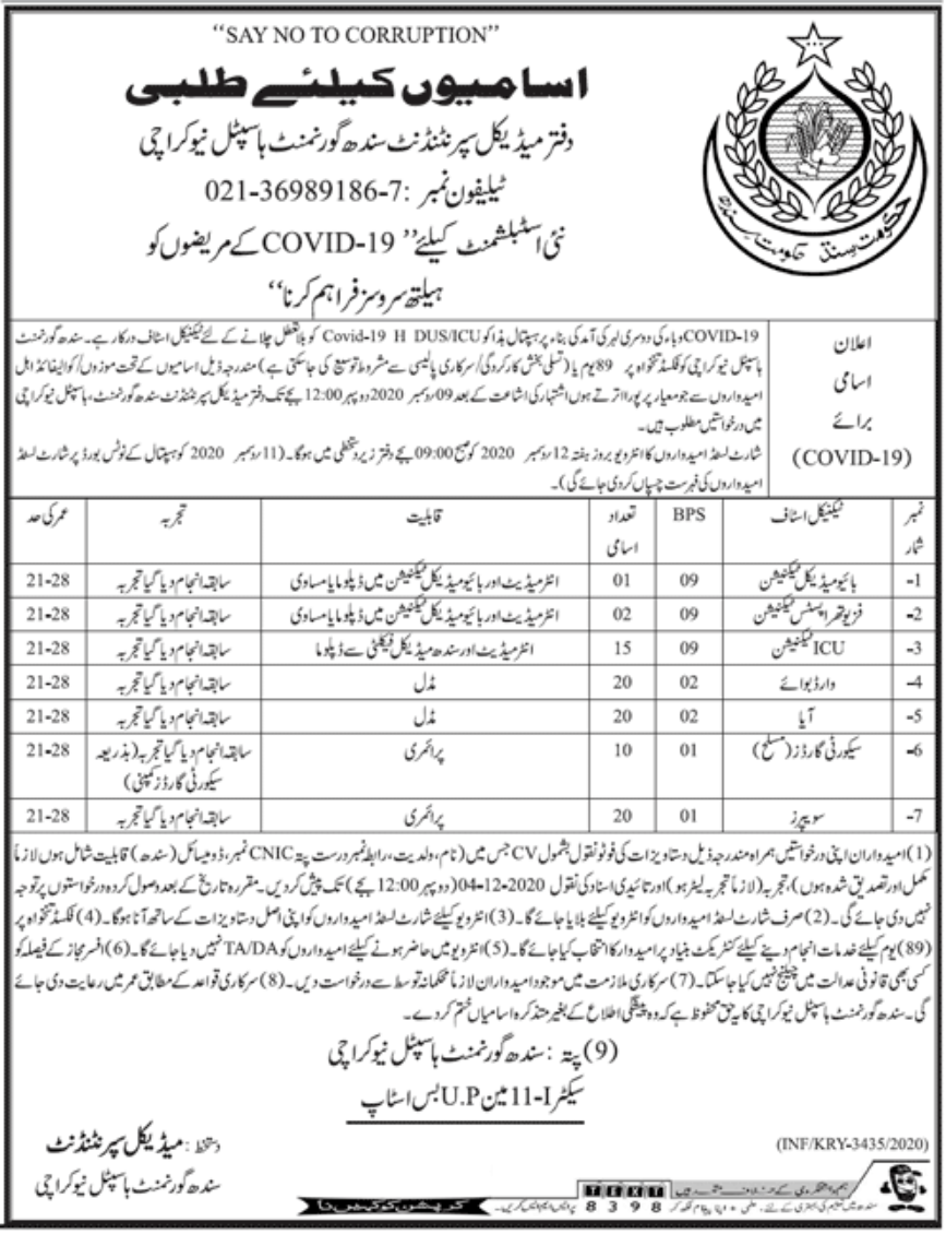 Sindh Government Hospital New Karachi Jobs December 2020