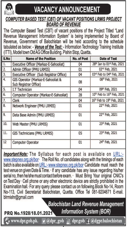 Balochistan Land Revenue Management Information System BOR Jobs January 2021