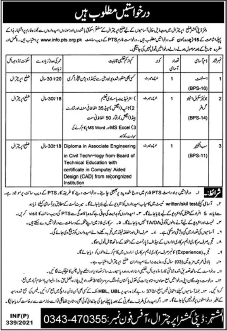 Deputy Commissioner Chitral Jobs January 2021