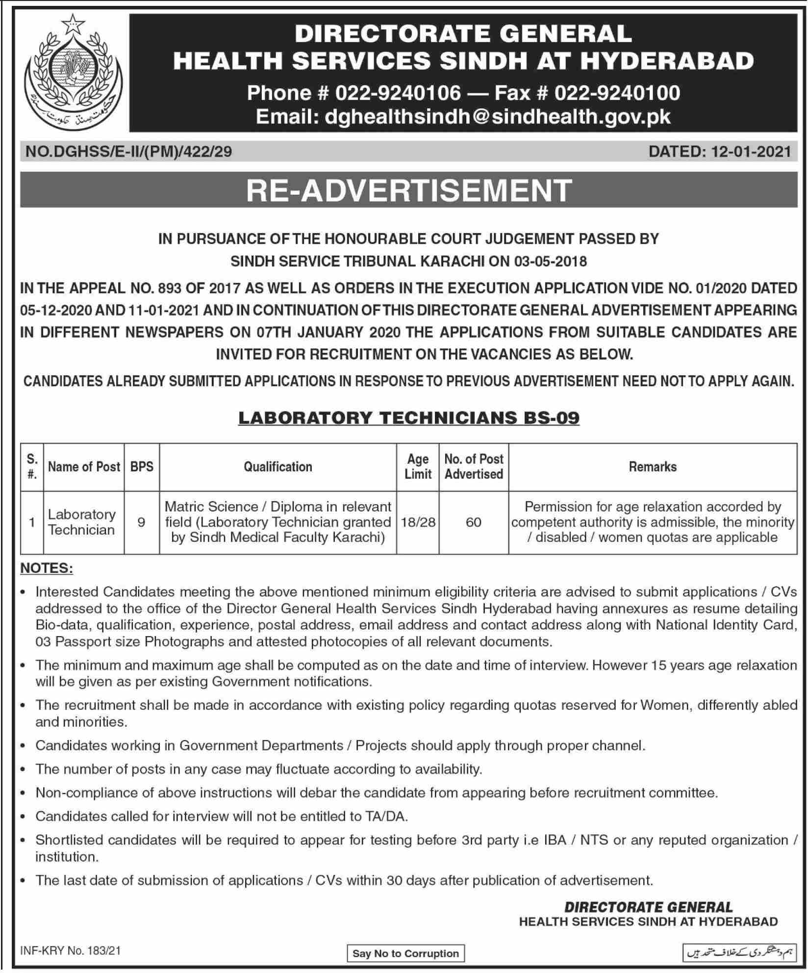 Directorate General Health Services Sindh Jobs January 2021