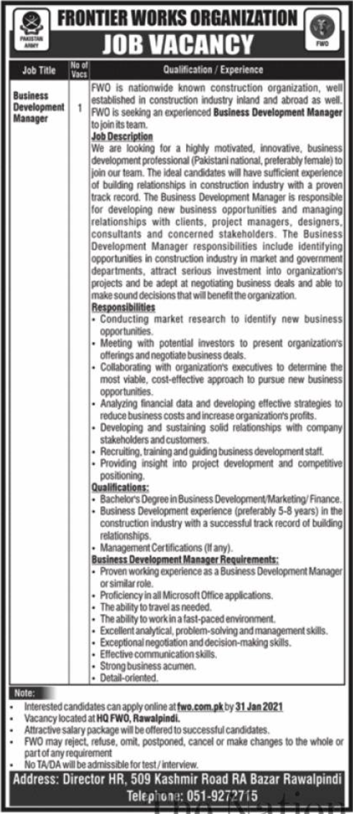 FWO Frontier Works Organization Jobs January 2021