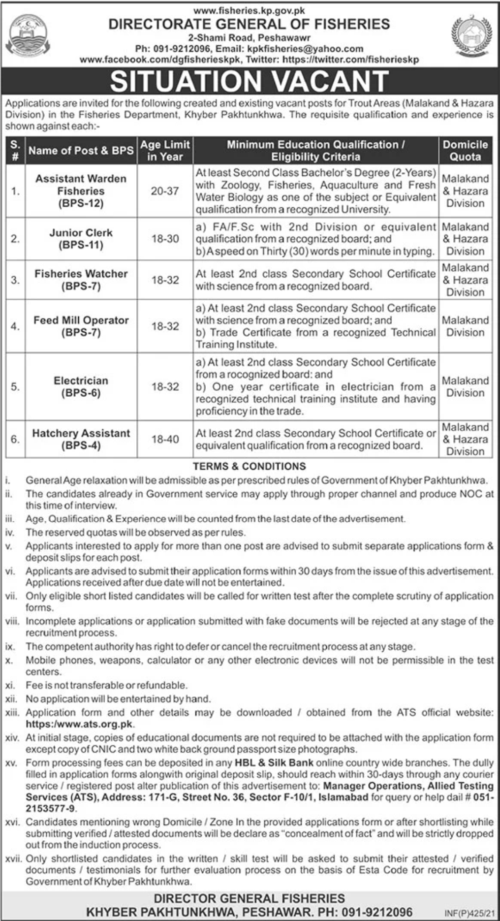 Fisheries Department Khyber Pakhtunkhwa Jobs January 2021