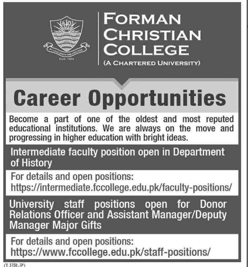 Forman Christian College Jobs January 2021