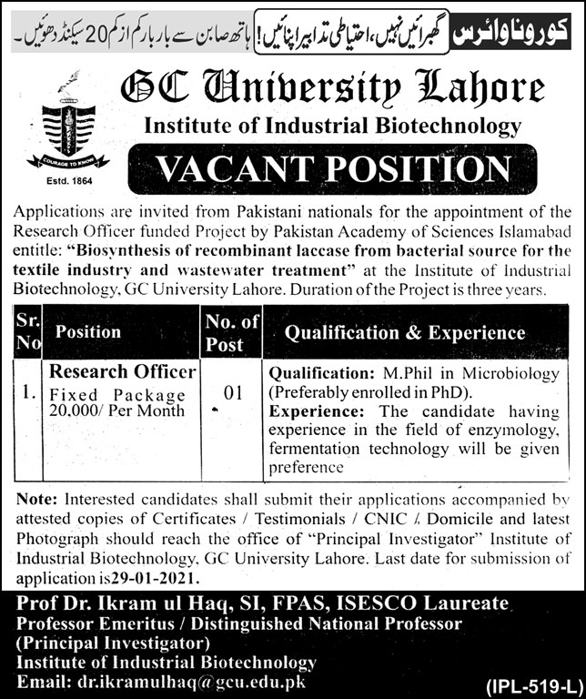 GC University Lahore Institute of INdustrial Biotechnology Jobs January 2021