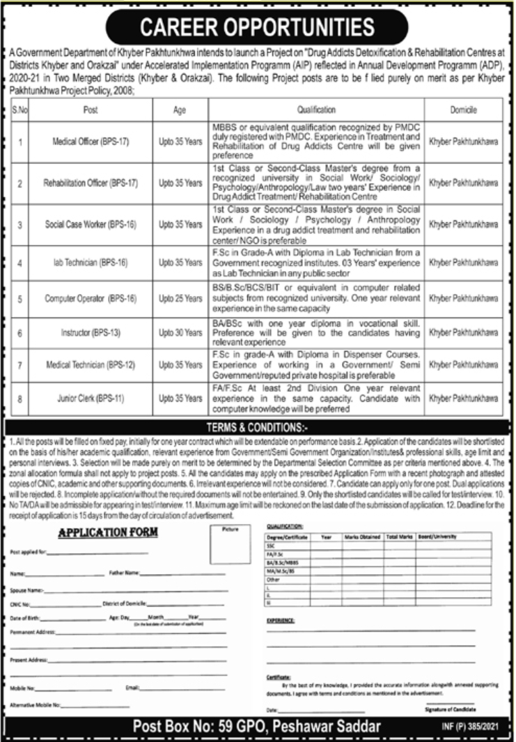 Government Department of KPK Jobs January 2021