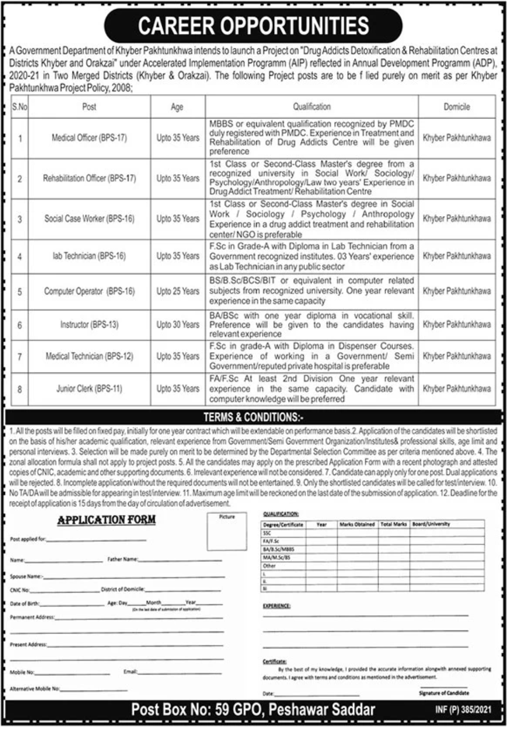 Government Department of Khyber Pkhtunkhwa Jobs January 2021