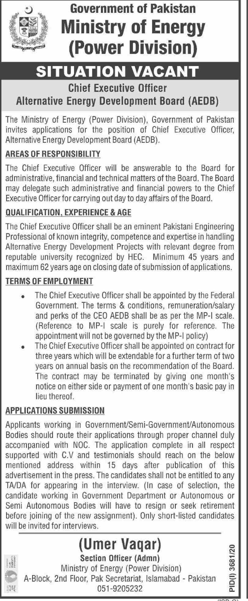 Government of Pakistan Ministry of Energy Jobs January 2021