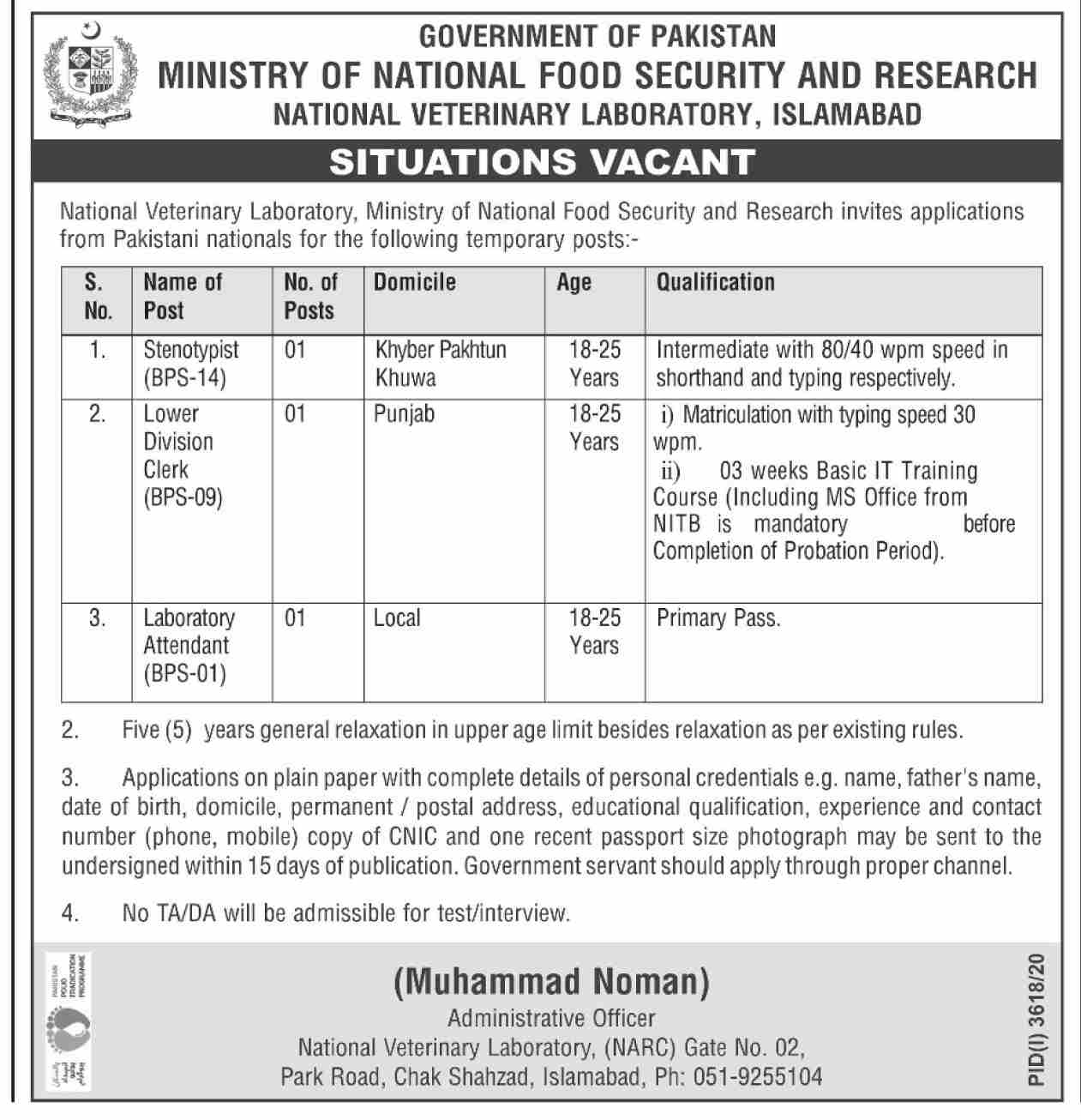 Government of Pakistan Ministry of National Food Security and Research Jobs Jauary 2021