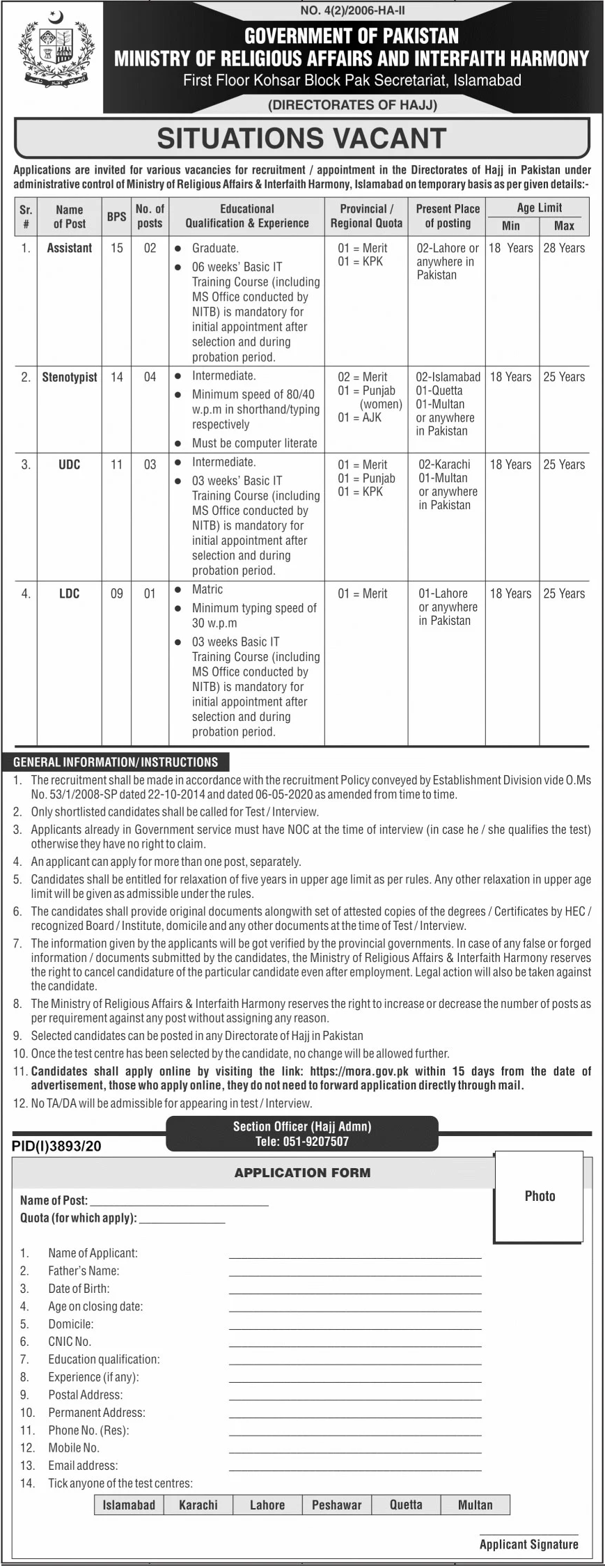 Government of Pakistan Ministry of Religious Affairs and Interfaith Harmony Jobs January 2021