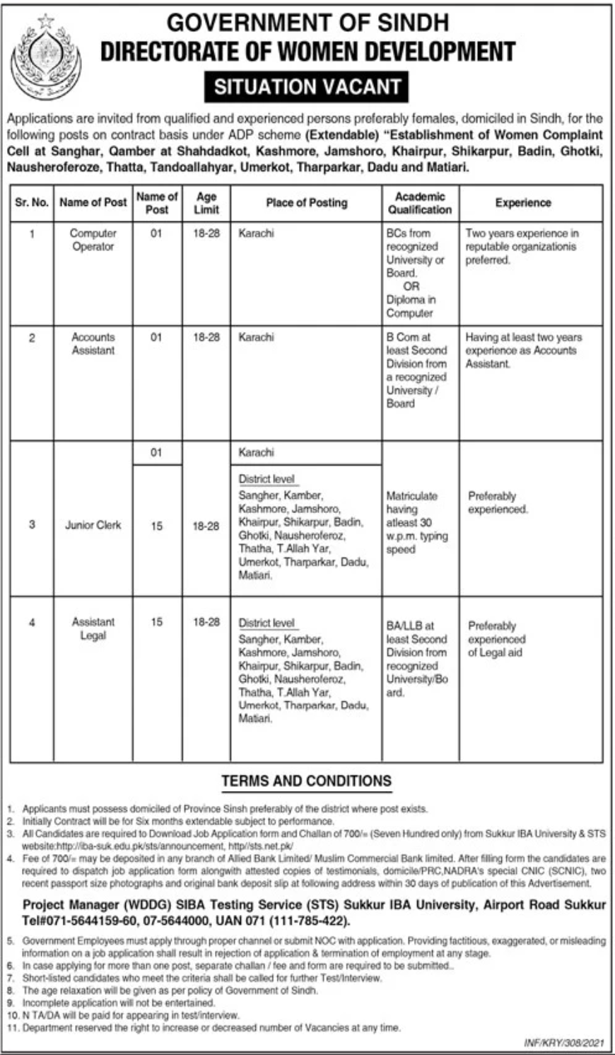 Government of Sindh Directorate of Women Development Jobs January 2021