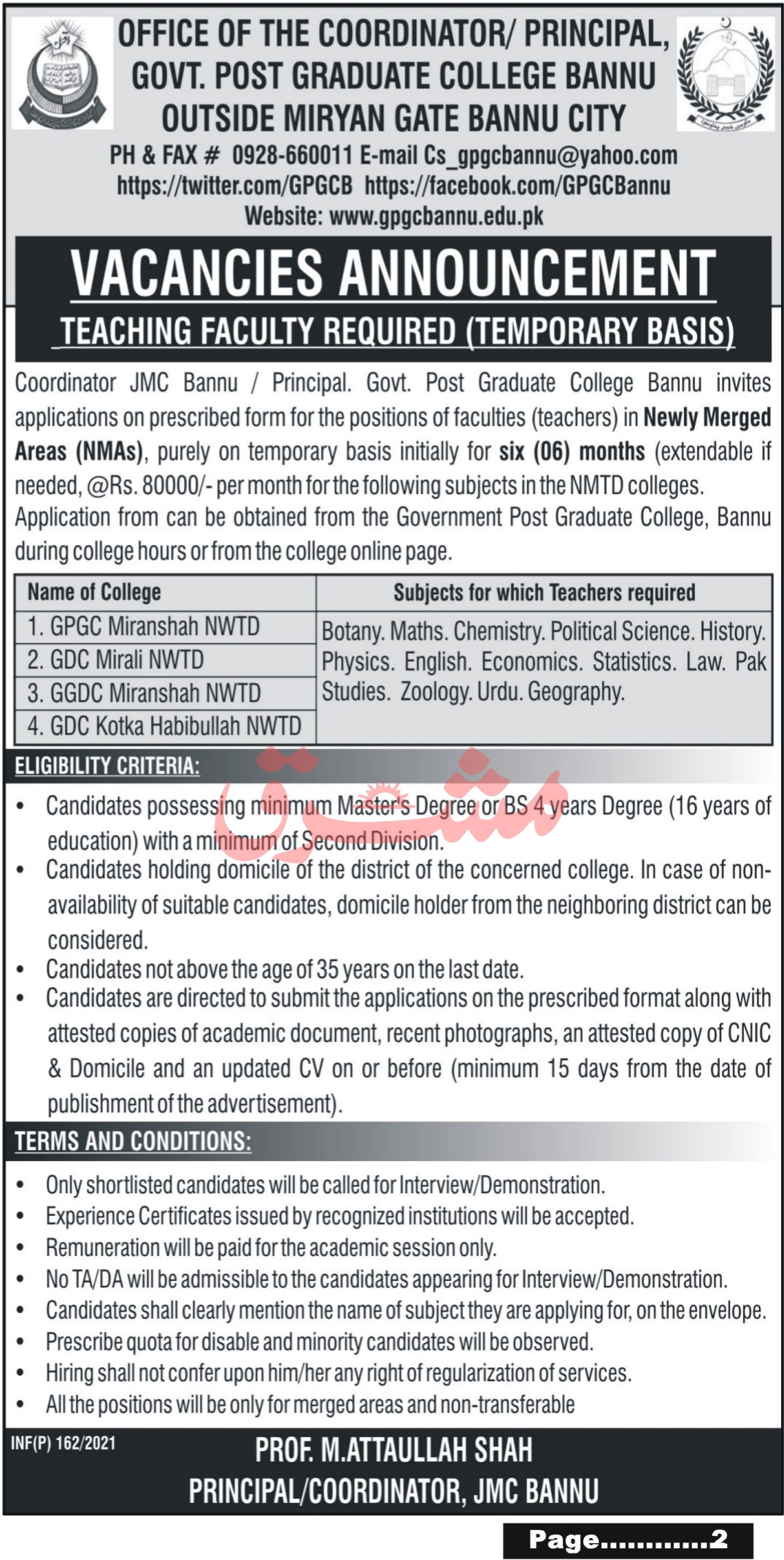 Govt Post Graduate College Bannu Jobs January 2021