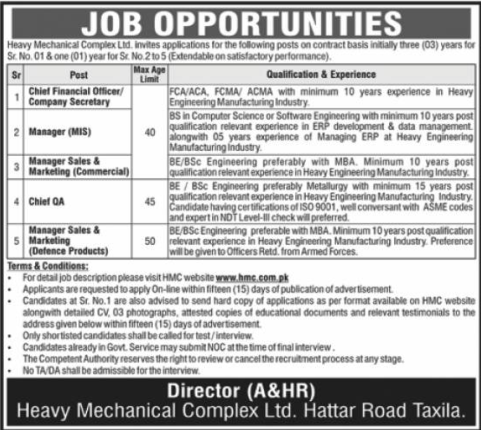 Heavy Mechanical Complex HMC Ltd Jobs January 2021