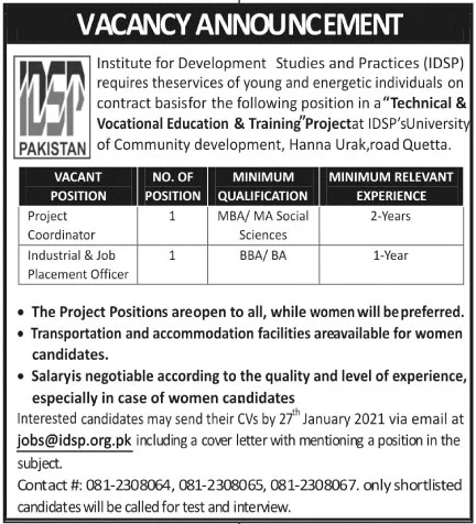 Institute for Development Studies and Practices IDSP Jobs January 2021