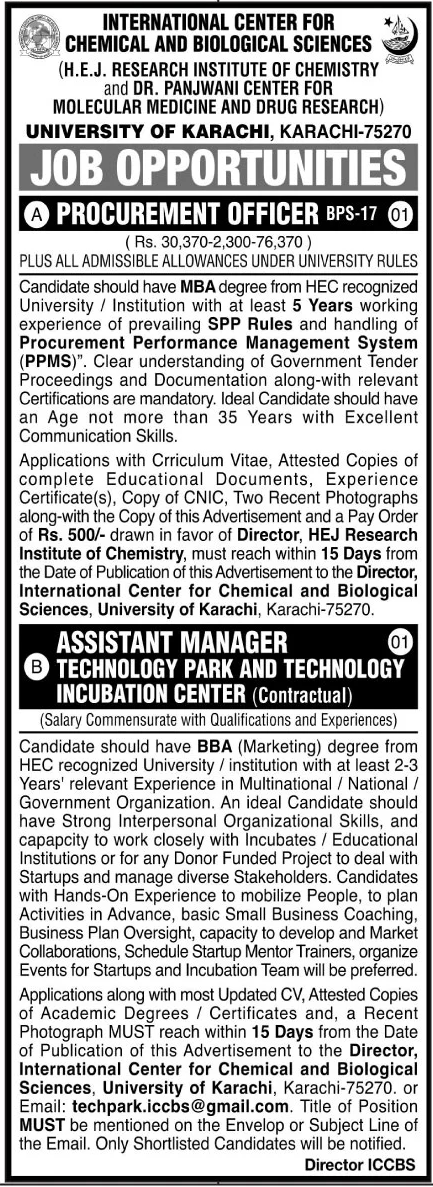 International Center for Chemical and Biological Sciences University of Karachi Jobs January 2021