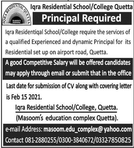 Iqra Residential School College Quetta Jobs January 2021