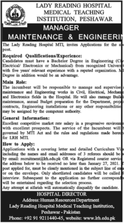 Lady Reading Hospital Medical Teaching Institution Peshawar Jobs January 2021