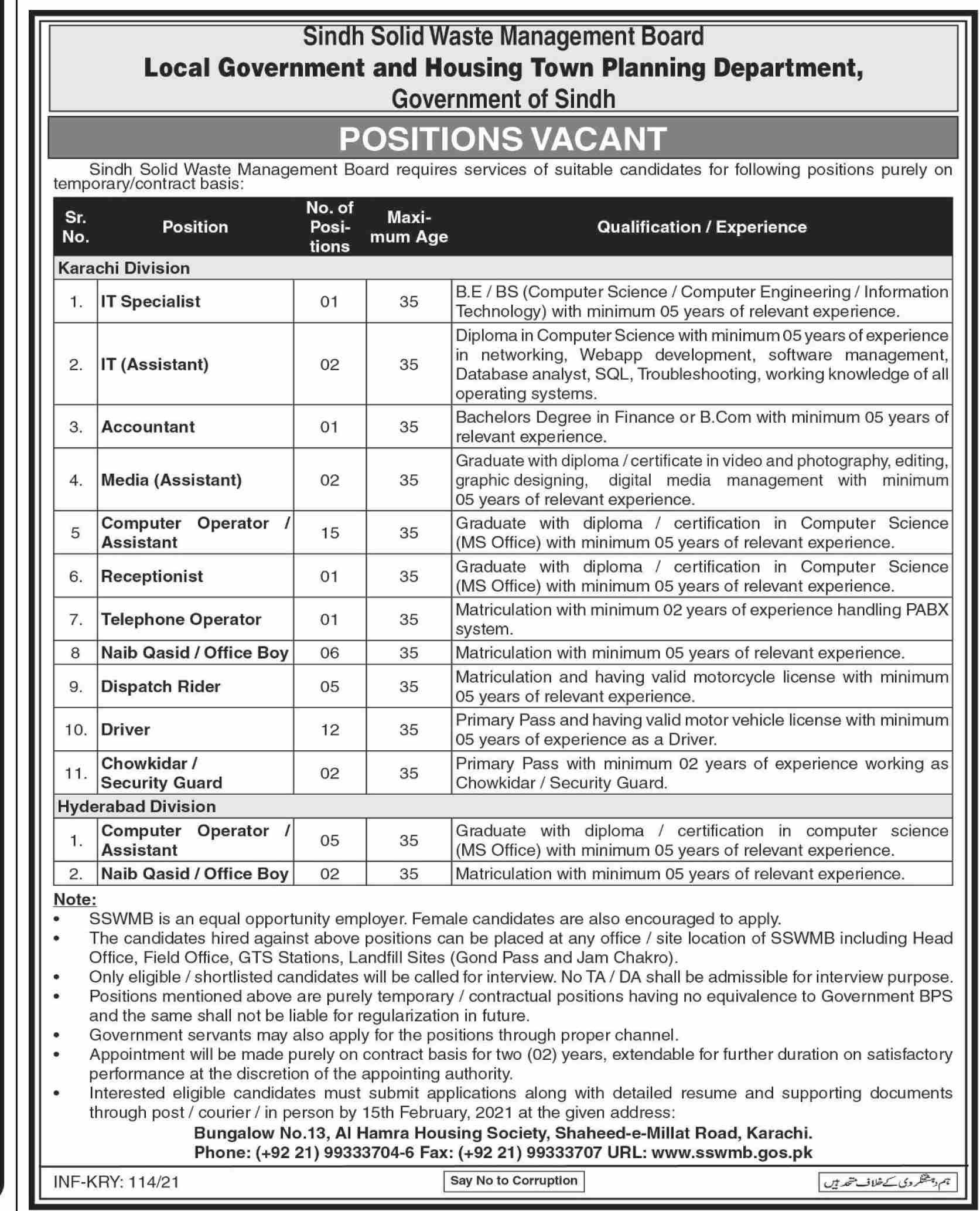 Local Government and Housing Town Planning Department Government of Sindh Jobs January 2021