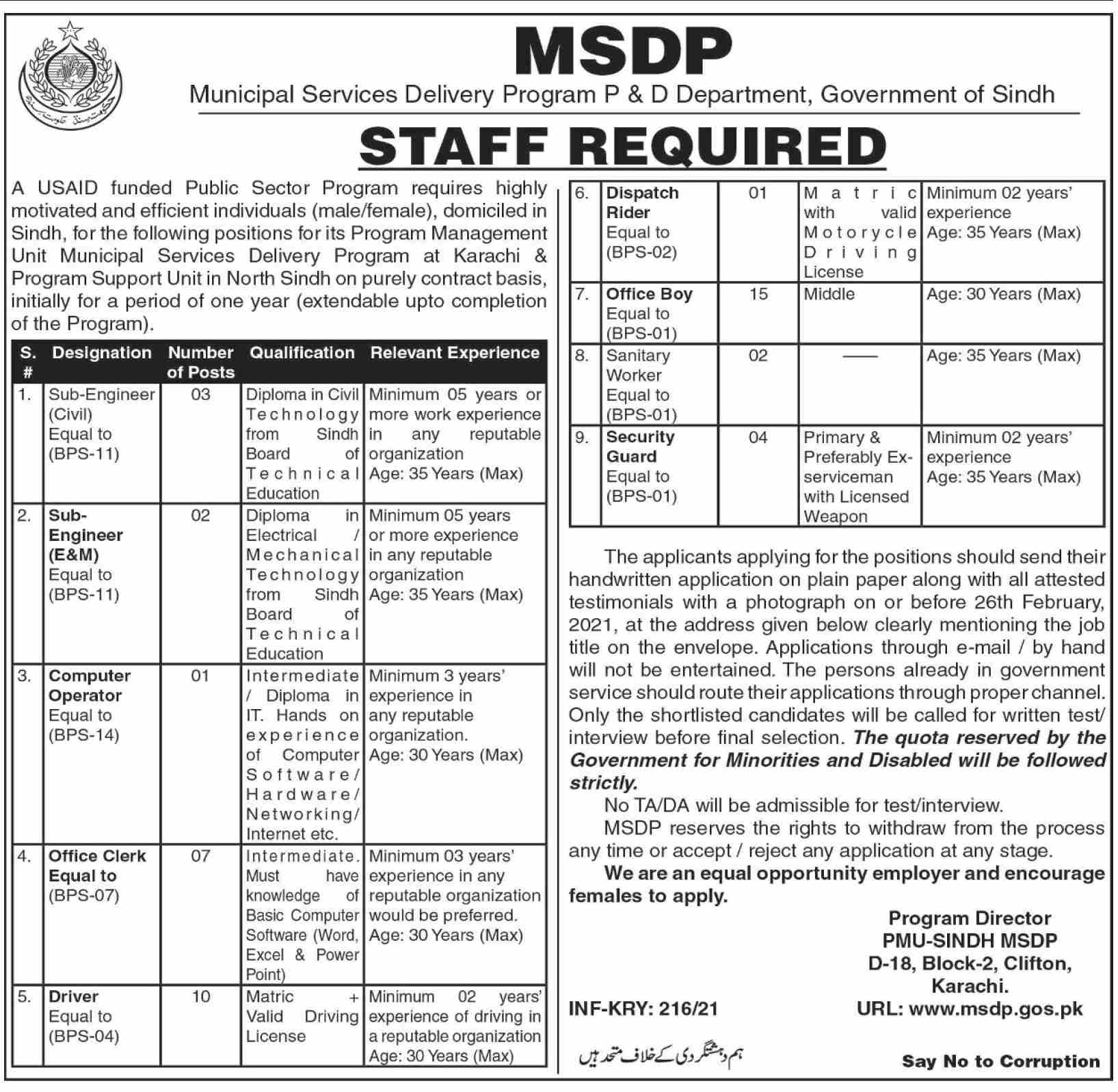 MSDP Municipal Services Delivery Program P & D Department Government of Sindh Jobs January 2021