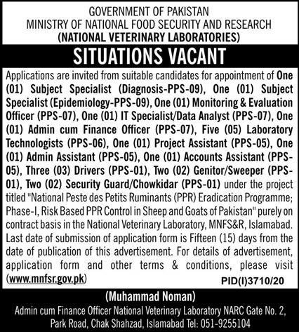 Ministry of National Food Security and Research Jobs January 2021