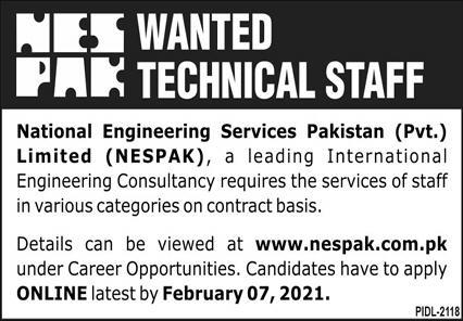 National Engineering Services Pakistan Pvt Limited NESPAK Jobs January 2021