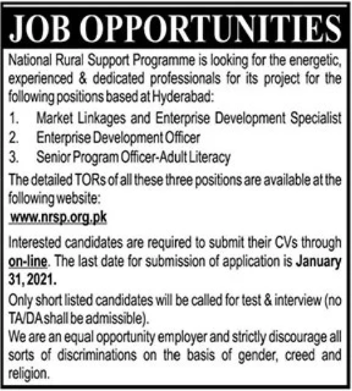 National Rural Support Programme Jobs January 2021