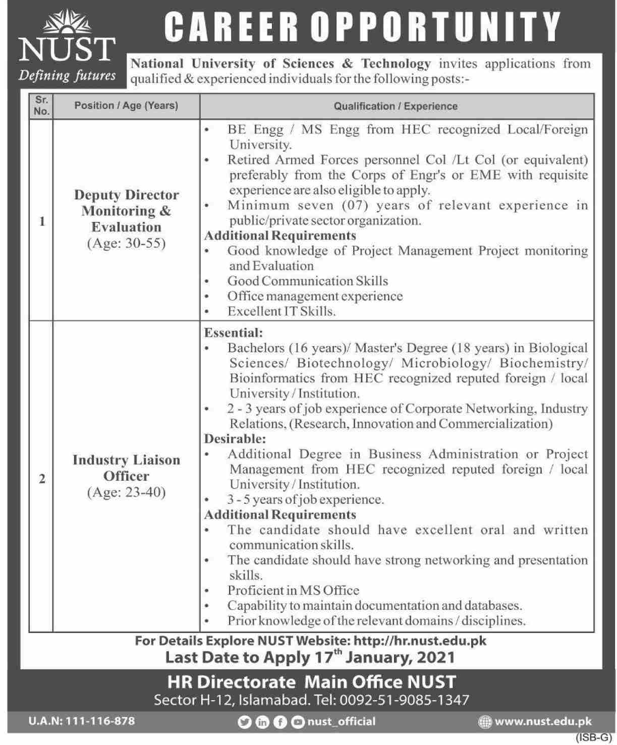 National University of Sciences & Technology NUST Jobs January 2021