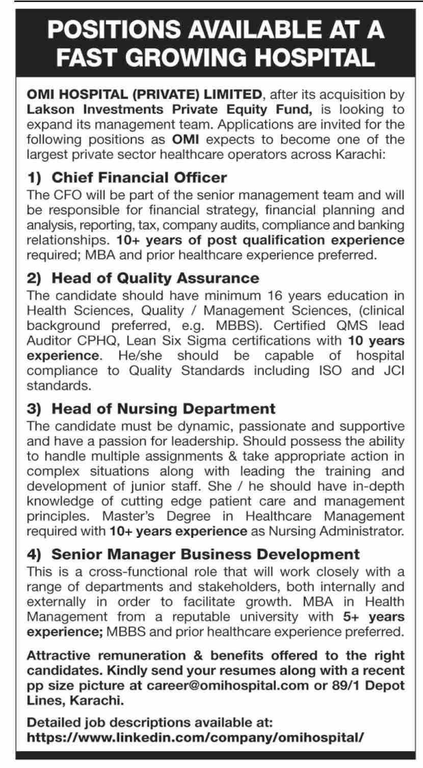 OMI Hospital Private Limited Jobs January 2021