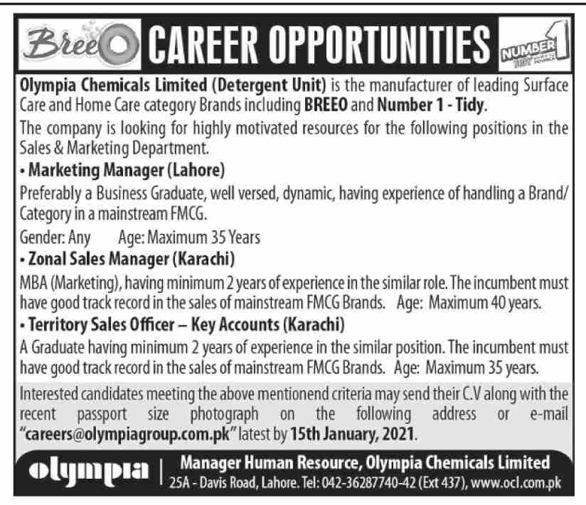 Olympia Chemicals Limited Jobs January 2021
