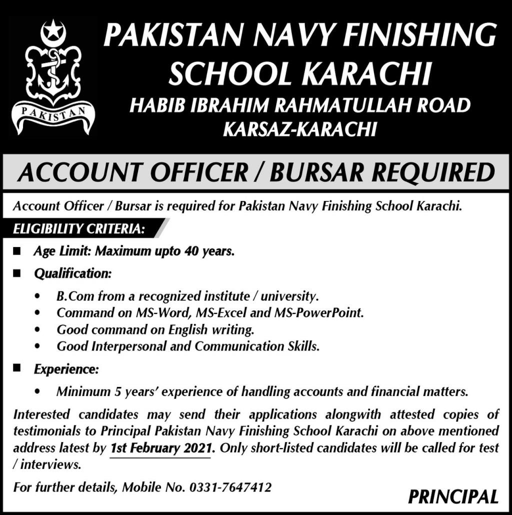 Pakistan Navy Finishing School Karachi Jobs January 2021