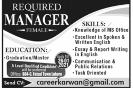 Private Office Lahore Jobs January 2021