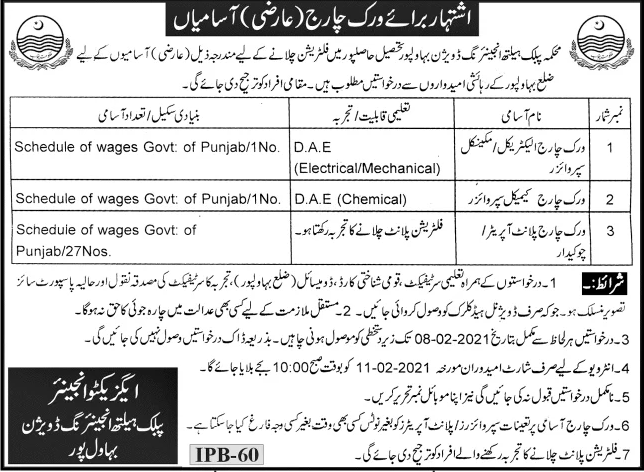 Public Health Engineering Department Jobs January 2021