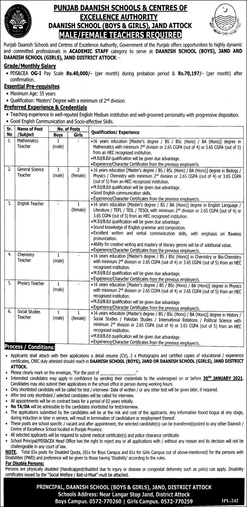 Punjab Daanish Schools & Centres of Excellence Authority Jobs January 2021