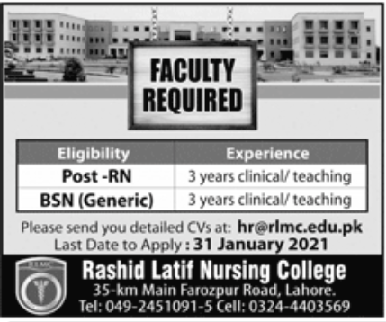 Rashid Latif Nursing College Jobs January 2021