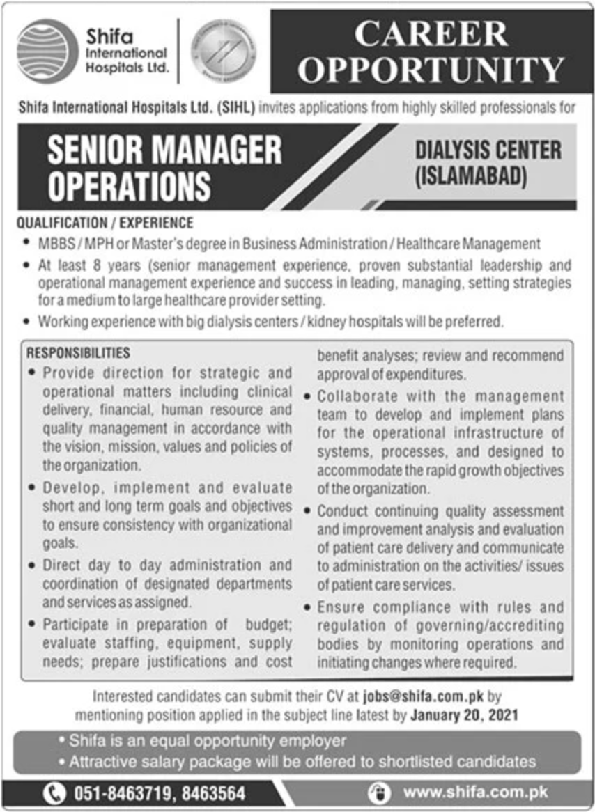 Shifa International Hospital Ltd Jobs January 2021