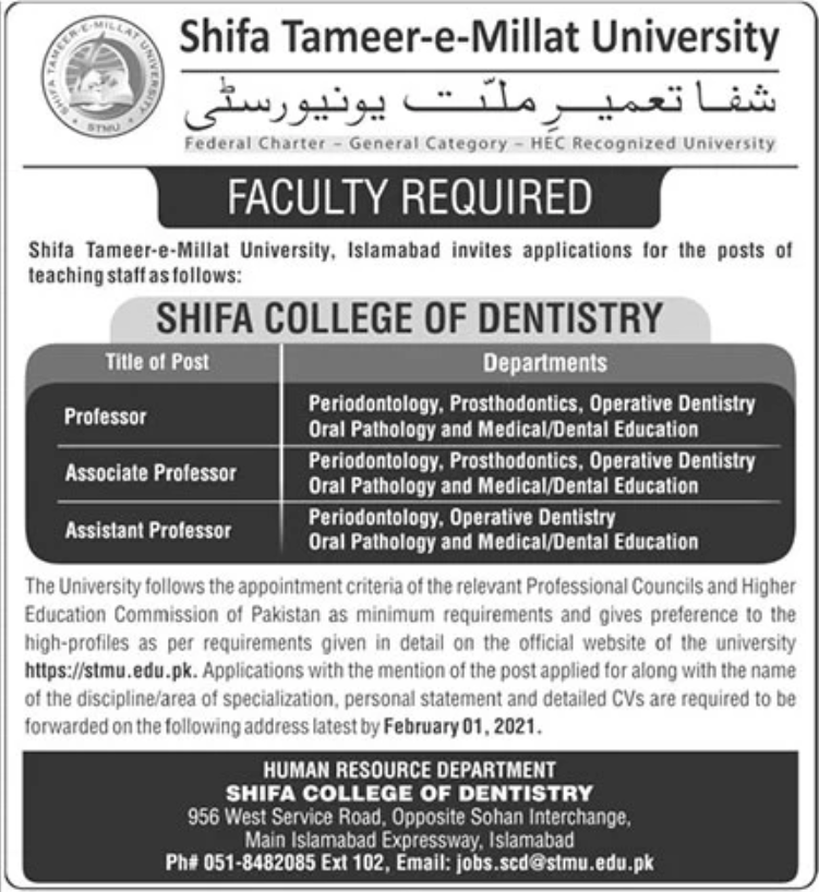 Shifa Tameer e Millat University Jobs January 2021
