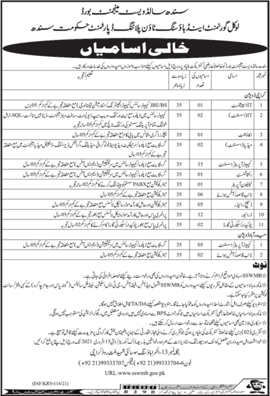 Sindh Solid Waste Management Board Jobs January 2021
