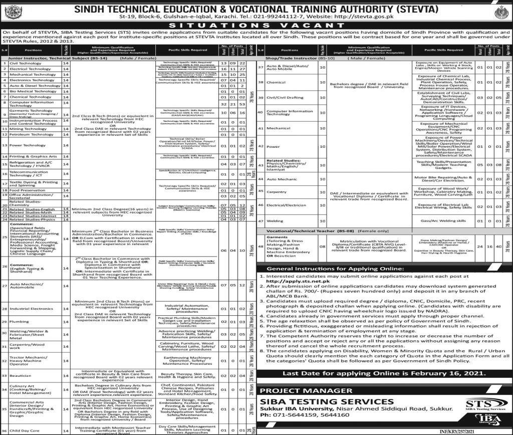 Sindh Technical Education & Vocational Training Authority STEVTA Jobs January 2021